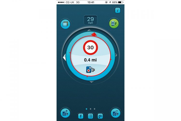 Screenshot der Blitzer App iSpeedCam
