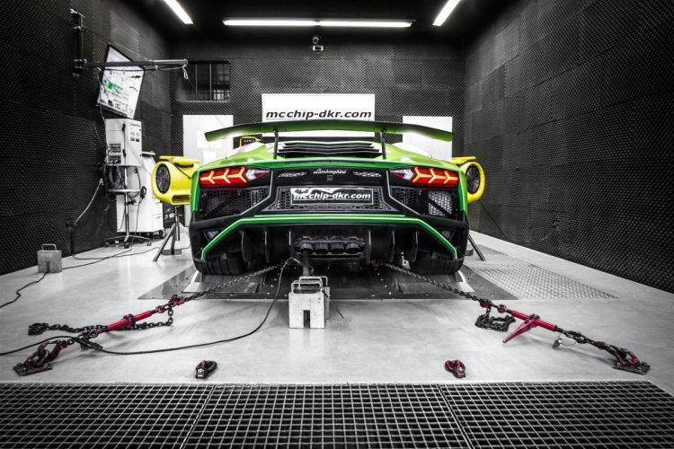 Heckansicht des Lamborghini Aventador Supervelocé.