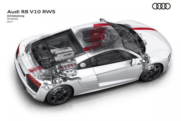 Blick auf den Antrieb des Audi R8 V10 RWS