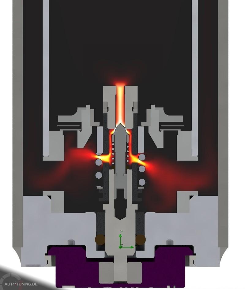 Querschnitt eines Kolbens mit Veranschaulichung der Druckstufe.
