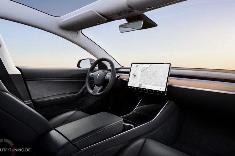 Tesla Model 3 Innenraum in schwarz