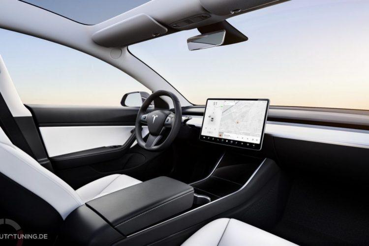 Tesla Model 3 Innenraum in weiß