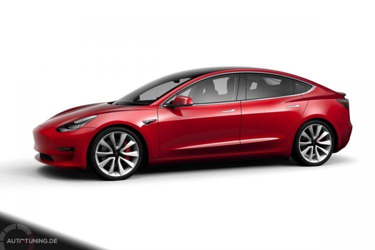Tesla Model 3 Performance in Red Multi-Coat